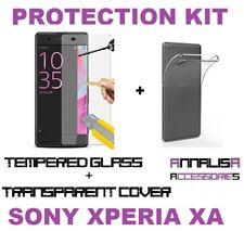 CUSTODIA COVER + PELLICOLA VETRO TEMPERATO SONY XPERIA XA F3111 TPU CASE + GLASS