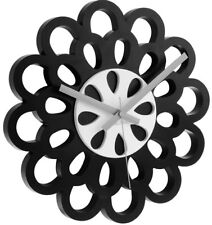 Designer Wanduhr Flower schwarz 35 cm Retro Uhr Blumen