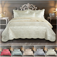 3 Piece Luxury Quilted Bedspread Bed Throws Jacquard Bedding Double & King Size
