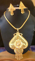 22K Gold Plated Indian 9'' Long Chain Pendant Earrings Bridal Weding Set ..a