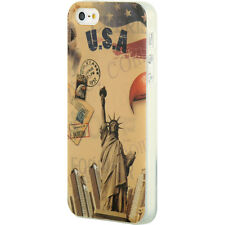 For iPhone SE 5S HARD RUBBER GUMMY GEL SKIN CASE COVER USA STATUE OF LIBERTY