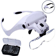 Head Magnifier with 2 LED Lights Magnifying Glass Loupe Hands Free Lamp He ZJD