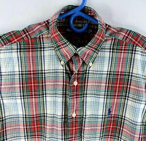 Ralph Lauren Mens Dress Shirt Blake Size Small Red Plaid Short Sleeve