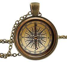 Bronze Antique Expedition COMPASS Necklace Chain Pendant Nautical Sailing Travel