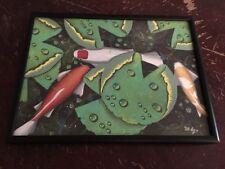 D. Finley Realistic Koi Pond 9x12 Framed & Signed Artwork