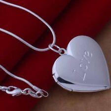 Impresionante Unisex Bañado En Plata medallón corazón Foto Charm Colgante Collar