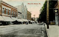 ATHENS PA VIEW OF MAIN STREET AND DRUG STORE USED 1908 PC