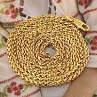 Vintage 23 Inches yellow Gold Filled Womens Mens Rope Chain Necklace Jewelry