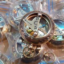 Lot of 12 Brass Sundial Push Button Mini Compass Marine