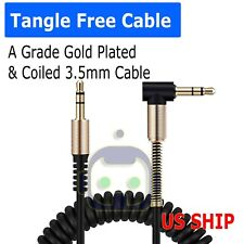 """3.5mm Male to Male Jack Audio Stereo M/M Plug Coiled Spiral Extension Cable 42"""""""