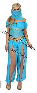 Blue Princess Jasmine Genie Belly Dancer Arabian Nights Fancy Dress FREE Post (G