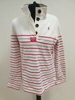 P153 WOMENS JOULES WHITE PINK GREY STRIPED BUTTON NECK JUMPER UK 12 US 8