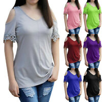 Womens Short Sleeve V Neck Tops Cold Shoulder Floral Casual Blouse Tunic T Shirt