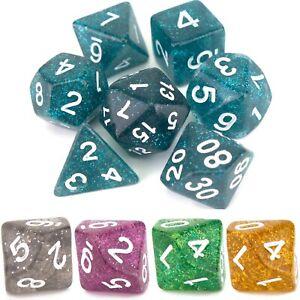 """7 Dice Poly Set """"GLITTER"""" (Select Colour) - D&D RPG D10 D20 D12 D6 D8 D4 D%"""