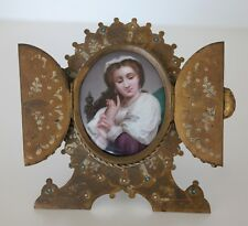 German Dresden Painted Porcelain Plaque of Young Girl Triptych Gilt Bronze Frame