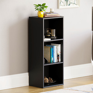 Oxford 3 Tier Cube Bookcase Display Shelving Storage Unit Wooden Stand Black New