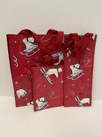Vera Bradley Beary Merry 3 pc RED Market Tote Bag Set w/ Polar Bears - NWT