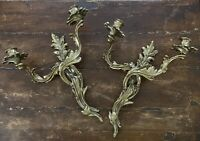 """Vtg~Set of 2 Solid Brass Double Wall Candelabra ~ Sconce 16"""" x 13"""" ~EUC"""