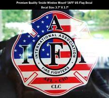 IAFF Firefighter Inside Window Mount Decal US Flag Patriot 3.7 Inch PREMIUM 0263