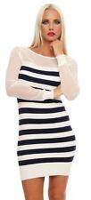 10891 Strick Minikleid Streifen Long Pullover Pulli Kleid StrickPullover