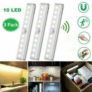 3PCS PIR Motion Sensor Cabinet LED Lights Battery Kitchen Wardrobe Cupboard Lamp