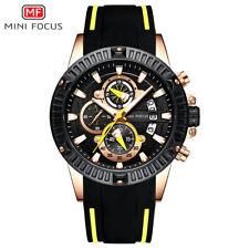 Sport Watch GiftBox Chronograph Yellow. MiniFocus Mens Quartz Fashion Sillicon