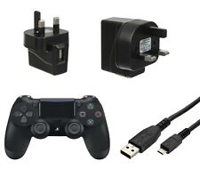 Black USB Mains Charger Wall Plug and 2M Micro Data Cable for PS4 Controller
