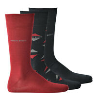 HUGO BOSS 3er Pack Herren Socken in Geschenkbox, OneSize 40-46 - Marine/Rot