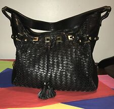 Cole Haan Black Weaved-Leather Hobo-Purse with Tassels