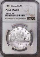 :1963 S1$ DOLLAR ELIZABETH-II CANADA KM#54 LOW-POP NGC PL-66-CAM HIGHEST-GRADES