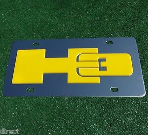 Hummer H3 Yellow License Plate Laser Cut Logo on Polished Stainless GM Licensed