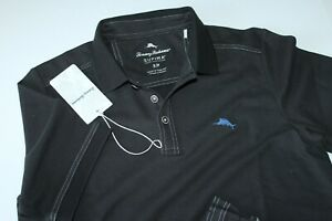 Tommy Bahama Polo Shirt Emfielder Embroidered Black T220856 New Small S