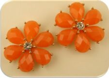 2 Hole Beads Happy Flowers ORANGE~Clear Swarovski Crystal Elements~Sliders QTY 2