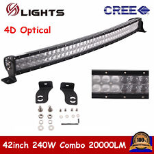 42inch 240W Curved CREE 4D Optical LED Light Bar Combo Offroad 4WD UTE Jeep Ford