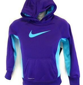 Girls Youth Kids Nike 546099 547 Purple Blue Swoosh Therma Fit Hoodie Sweatshirt