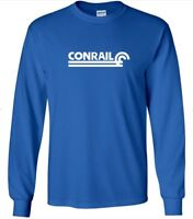 Conrail T-shirt Defunct Railroad Train Company  80s Tee Shirt Blue Long Sleeve