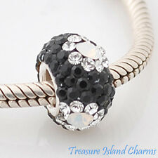 Clear Flower on Black CZ Crystal 925 Solid Sterling Silver European Bead Charm