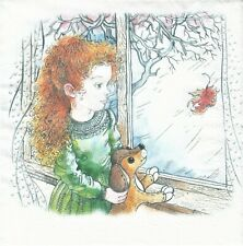 1 Lunch Papier Serviette Napkin (BP675) Mädchen mit Hund am Fenster