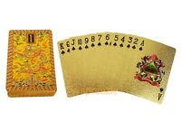 Dragon Gold Playing Cards 24k Foil Plated Full Deck Poker Gamble Game Luxury New