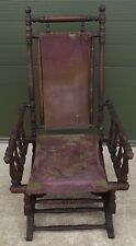 Antique Victorian Oak American-Style Rocking Armchair Chair - Needs Reupholstery