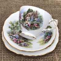 4 x Royal Vale Country Cottage Tea Cup, Saucer & Plate Trio Bone China Pat 7382