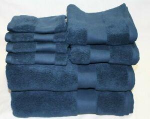 Ralph Lauren Wescott Club Navy Eight Piece Bathroom Towel 100% Cotton Set New