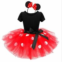 Girls Minnie Mouse Princess Party Prom Wedding Pageant Summer Tutu Dress Age 2-8