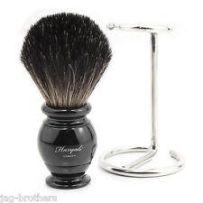 100% Puros Pelo Negro tejón brocha de afeitar con soporte de acero Haryali London