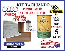 KIT TAGLIANDO AUDI A3 1.6 TDI 81KW OLIO MOTORE BARDAHL TECHNOS C60 5W30
