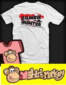 Zombie Hunter Funny T-shirt - Ladies and Gents Many Colours.