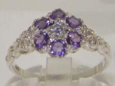 Victorian Solid 925 Sterling Silver Natural Amethyst & Diamond Daisy Ring