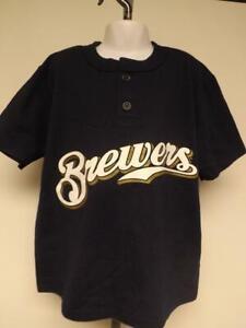 New Milwaukee Brewers Kids Sizes S-L Navy Shirt