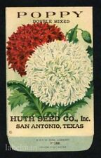 POPPY, Huth Seed Co., San Antonio, Antique Seed Packet, Kitchen Decor, 232