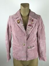 sharif collection New York 100% leather jacket pink sz S (D)